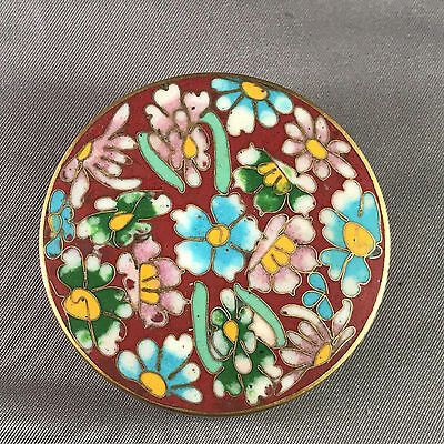 Vintage Cloisonne Enamel Round Box w/ Mixed Flowers Red Outside and Teal Inside