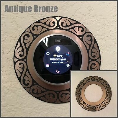 Nest Thermostat Wall Plate - Antique Bronze Feather design
