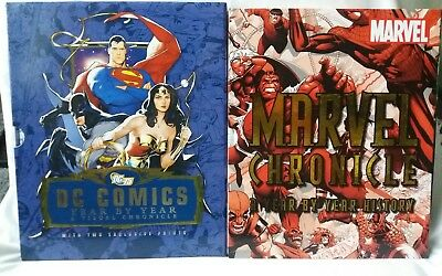 Marvel & DC Comics Large Year By Year Chronicle HB Book Bundle x2 In VGC