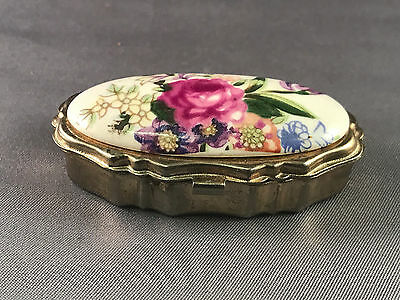 Vintage Gold Tone Flowers Porcelain Pill Box Two Compartments Hinged Top