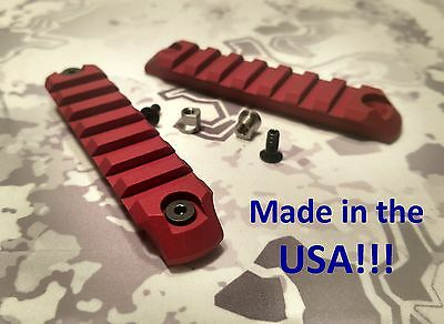 2 PCS 7-Slot Keymod Picatinny Rail Mount Sections 6061 Alum RED- Made in USA!!!