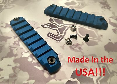 2 PCS 7-Slot Keymod Picatinny Rail Mount Sections 6061 Alum BLUE- Made in USA!!!