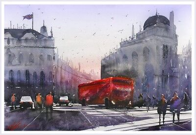 Fine Print Piccadilly London Town Street City Watercolour Painting Urban Scape