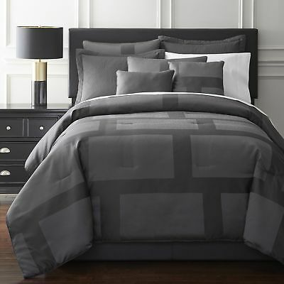 Chezmoi Collection 7-Piece Modern Block Jacquard Comforter Set Queen Gray