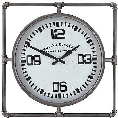English Electric Clock Company - Grey Retro / Industrial Pipe Clock - 63 X 63 Cm