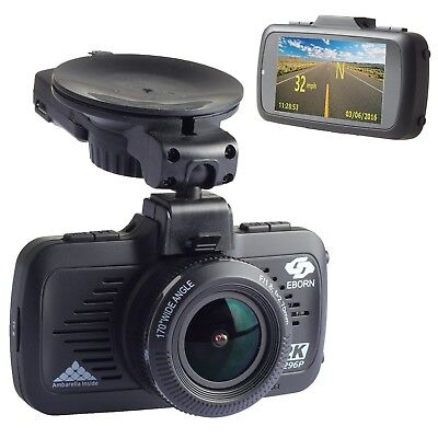 EBORN HD Dash Cam with Built in GPS 170 Angle View1080P 1296P32GB Card includ...