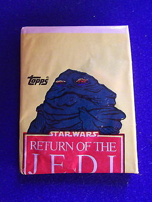 Sealed ERROR wax pack Star Wars ROTJ TOPPS Series 1 1983 Jabba top off center