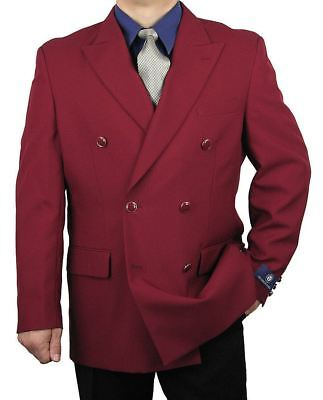 Double Breasted Blazer Mens Jacket Classic Fit 6 Buttons Burgundy 36S-48L tb28