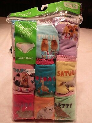 Girls underwear.  Size 12.  Brief, 9 pack.  Days of the Week, Faded Glory