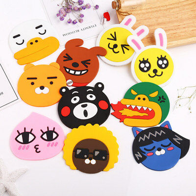 Silicone Cartoon Cup Coaster Cushion Holder Drink Coffee Placemat Mat Kids Gift