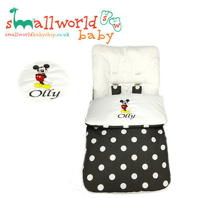 Personalised Boys Black Polka Mickey Mouse Footmuff Cosytoes NEXT DAY DISPATCH