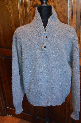 Vintage Pendleton Gray Fleck Pullover Sweater 2 Button Suede Elbow Pads Large