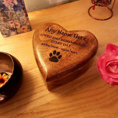 Small Medium Large Heart Mango Wooden Urn Ashes Dog or Cat Pet Cremation Box