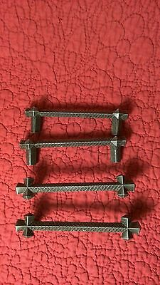 "Lot of 4 vintage 3 3/4"" gothic drawer door pulls hardware 3"" on center"