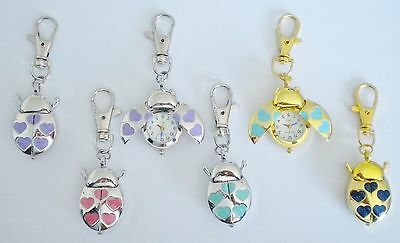 Ladybird/lady Bug Keyring/key Chain Pendant Pocket Fob Watch Heart Shaped Spots!