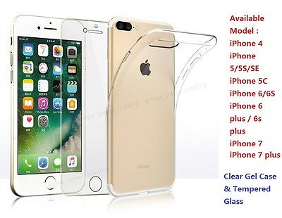 Tempered Glass Screen Protector Cover + Clear Gel case Cover for Apple iPhones
