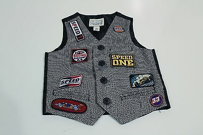 TCP Vest Size 3T Racing Auto Black Red Speed Patches EUC