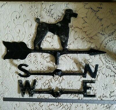 Antique Poodle Directional Weathervane North South East West Cast Metal Rare!!