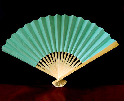 """9"""" Cool Mint Green Paper Hand Fans for Weddings, Premium Paper Stock (10 Pack)"""