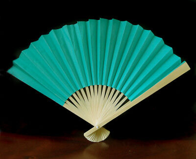 """9"""" Teal Green Paper Hand Fans for Weddings, Premium Paper Stock (10 Pack)"""