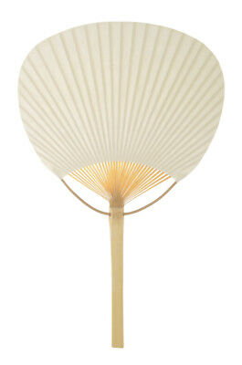 """9"""" Beige / Ivory Paddle Paper Hand Fans for Weddings (10 Pack)"""