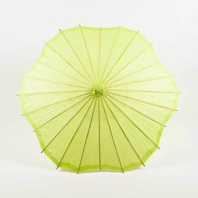 "32"" Light Lime Green Paper Parasol Umbrella, Scallop Shaped"