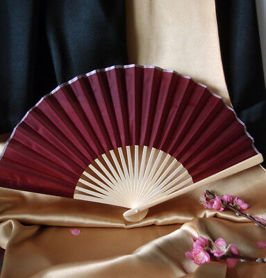 "9"" Marsala / Burgundy Wine  Silk Hand Fans for Weddings (10 Pack)"
