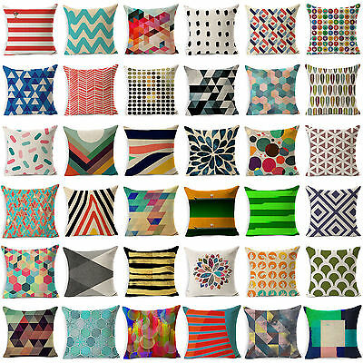 Vintage Geometric Cotton Linen Throw Pillow Case Cushion Cover Home Sofa Decor