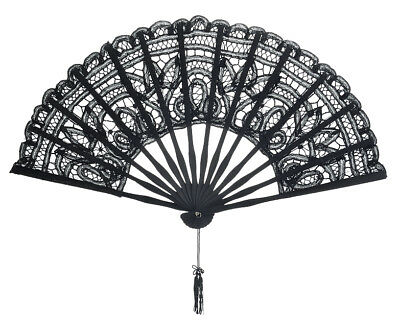 """11"""" Black Chinese Folding Lace Hand Fan for Weddings"""