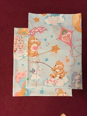 "Vintage 1982 ""Care Bears"" Flat and Fitted Twin Sheet Set (baby blue)"