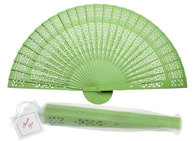 """8"""" Light Lime Green Chinese Folding Wood Panel Hand Fan w/ White Organza Bag for"""