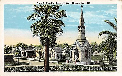 Postcard LA New Orleans View Of The Metairie Cemetery Vintage Louisiana PC
