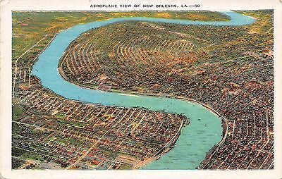 Postcard LA New Orleans Aeroplane View Of City And River Vintage Louisiana PC