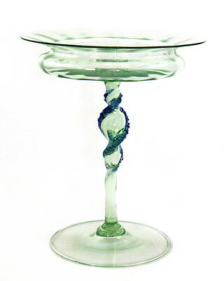 Early 20th c. Murano glass compote, blue rigaree on twisted stem [11154]