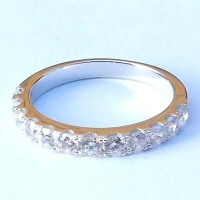 Wedding Ring: Half Eternity 925 sterling silver simulated diamond wedding band