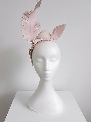 Miss Entwined womens fashion leather feather headband fascinator in pastel pink