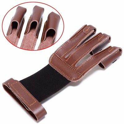 Cow Leather Archery Arrow Bow 3 Fingers Glove Guard Protector Hunting Shooting