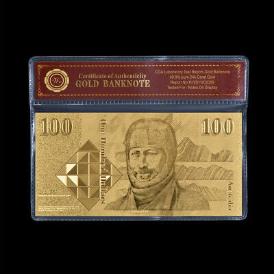 WR 24KT Australia Gold Banknote $100 Dollar Old Bank Note COA Wedding Party Gift