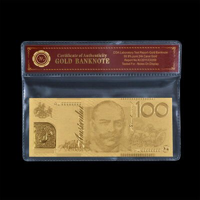 WR Australian $100 Dollar Polymer Note 999 24K GOLD Banknote Money In COA Sleeve