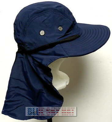 54b1e09dd99 Blue Walking Camping Hiking Outdoor Sun Cap Hat Flap Neck Ear Protection  Upf 50+