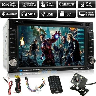 "6.2"" Double 2Din Car Stereo Radio DVD CD Mp3 Player Bluetooth +Rearview Camera"