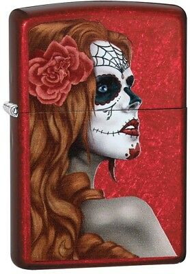 Zippo 'Day Of The Dead Girl' Windproof Lighter - Candy Apple Red