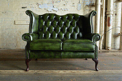 Traditional Handmade Antique 2 Seater Green Leather Chesterfield Sofa