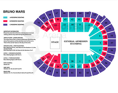 Bruno Mars 2x Tickets A-RESERVE - Sydney 18th March 2018
