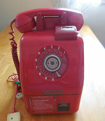 RED PHONE Rare & Vintage 20c Pay Phone retro  item with keys & card