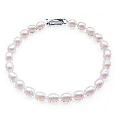 Pearl Bracelet Sterling Silver Oval Cultured Freshwater Pearls