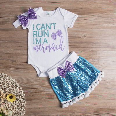 Newborn Baby Girls Outfits Clothes Romper Jumpsuit Bodysuit+Bling Pants Hairband