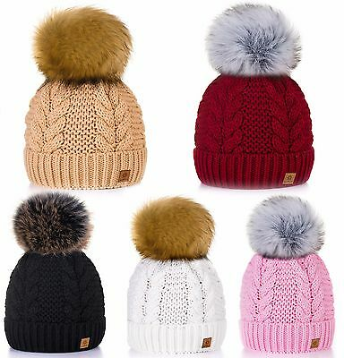 Women Winter Beanie Hat Knitted Ladies Fashion Large Pom Pom Warmth Ski Gifts LA