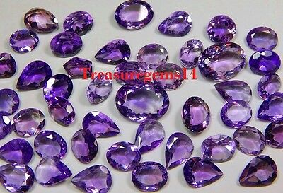 100 Crt WHOLESALE LOT NATURAL BRAZILIAN VVS PURPLE AMETHYST CUT FACETED CABOCHON