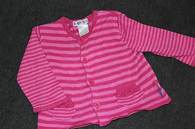 BRIGHT BOTS Size 00 Baby Girls Pink Striped Cardigan